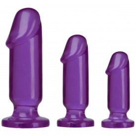 Набор из трех фиолетовых анальных фаллоимитаторов Crystal Jellies Anal Starter Kit