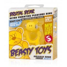 Жёлтое виброкольцо на пенис Brutal Bear