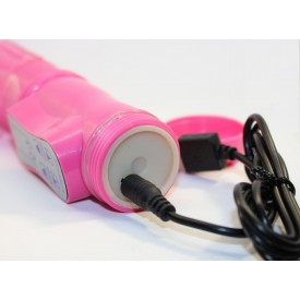 Перезаряжаемый розовый вибратор с ротацией - 22,5 см.